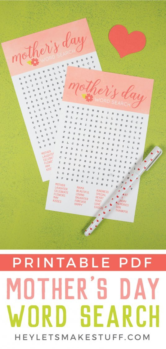 Have fun with mom with this free printable Mother's Day Word Search! Chock full of words that celebrate just how special your mom is to you.