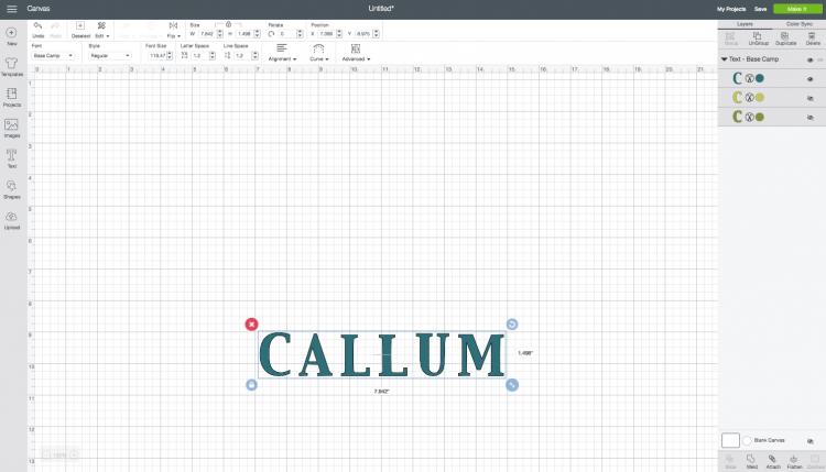 Cricut Design Space: Adding a Name
