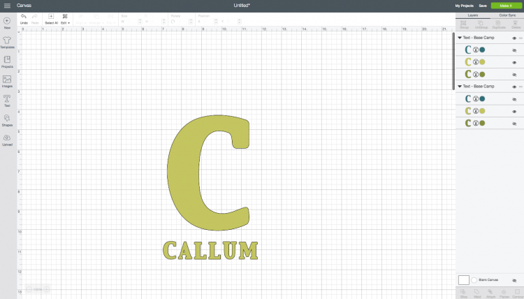 Cricut Design Space: Adding a Name with Initial