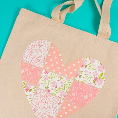 Patchwork Heart Tote using Cricut Patterned Iron On