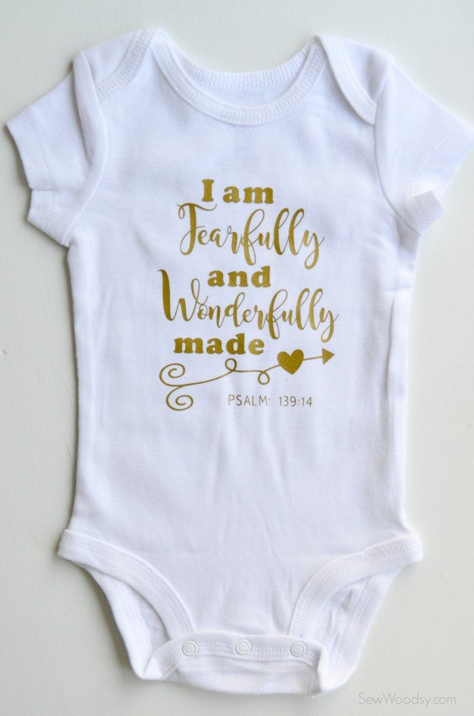 I am fearfully and wonderfully made | Dress your littles in style with these DIY baby onesies! Your Cricut makes these baby favorites easy to put together—and they are perfect for baby showers and newborn gifts!