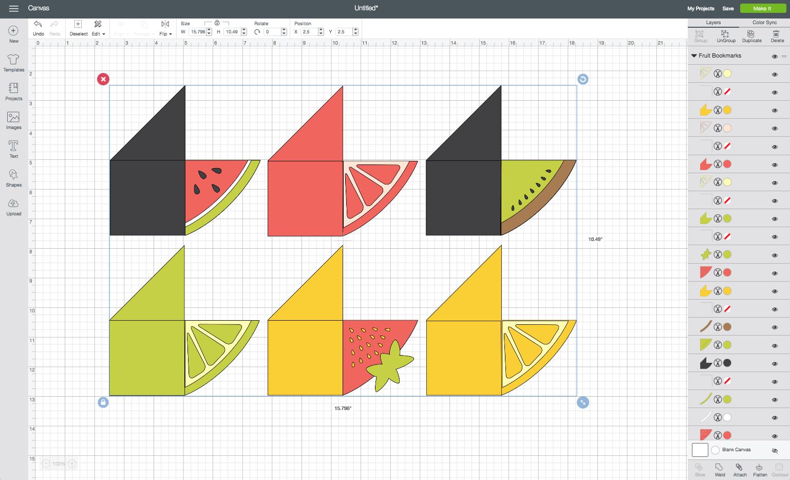 Cricut Design Space: All Pieces Grouped