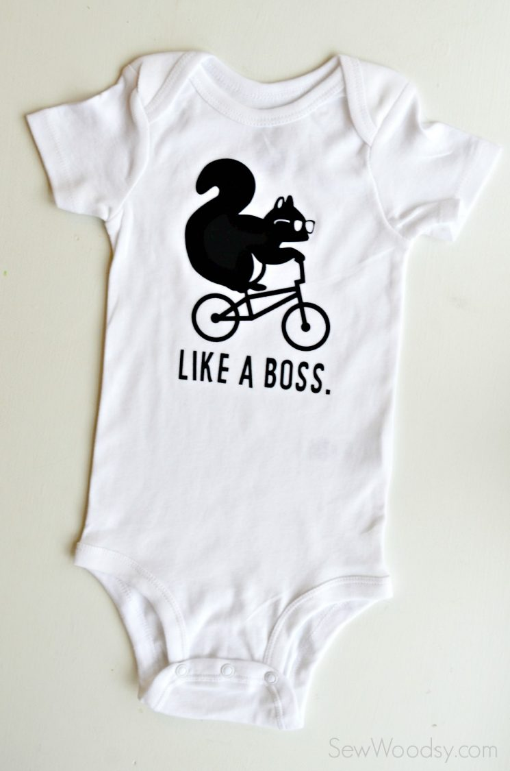 Like a Boss Squirrel Onesie | Dress your littles in style with these DIY baby onesies! Your Cricut makes these baby favorites easy to put together—and they are perfect for baby showers and newborn gifts!
