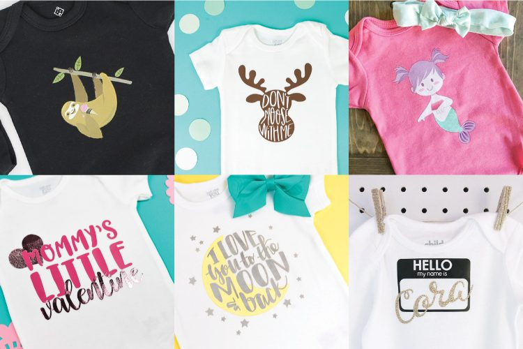 Dress your littles in style with these DIY baby onesies! Your Cricut makes these baby favorites easy to put together—and they are perfect for baby showers and newborn gifts!
