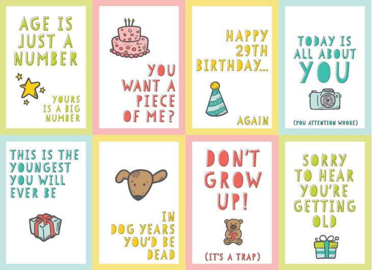 Free Funny Printable Birthday Cards For Adults Eight Designs