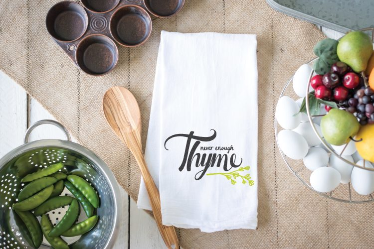 This Never Enough Thyme is the perfect SVG cut file for your kitchen! Put it on a tea towel or print the PNG version and hang. This would also be a great file to use on pots in your herb garden!