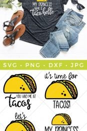 It's taco time! Download this delicious bundle of four SVG taco files to make all sorts of projects: t-shirts, tote bags, Cinco de Mayo party decor, and more!