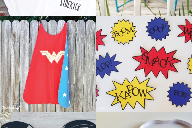 Throwing your little superhero a party? You're in luck! These superhero party ideas include decor, superhero t-shirts, invitations, and more, designed to be cut on your Cricut or other cutting machine.