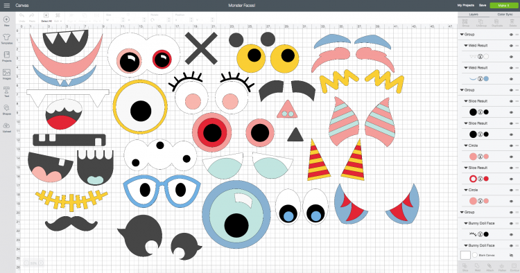 Screenshot of all pieces in Cricut Design Space