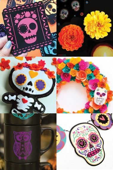 Cut these Dia de los Muertos crafts and SVG files on your Cricut or other cutting machine! All sorts of sugar skulls, flowers, and more to celebrate the Day of the Dead!