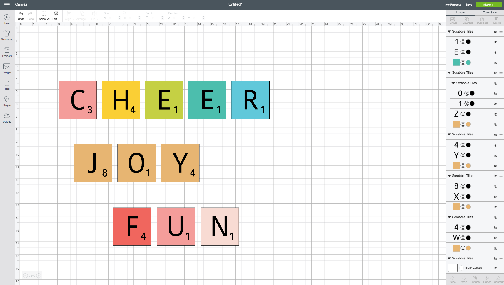 Changing colors on Scrabble Words in Cricut Design Space