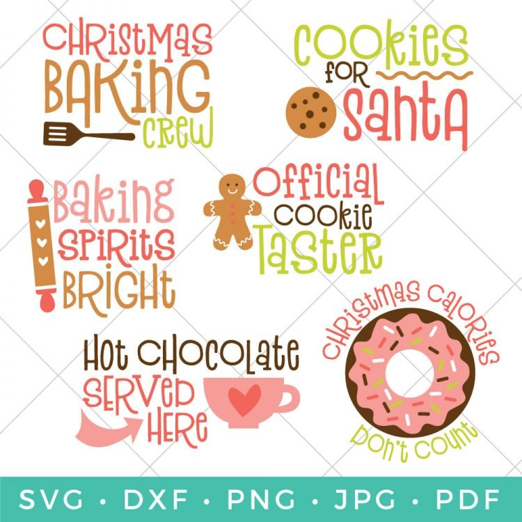 Christmas Baking Bundle - Six Christmas SVG Files