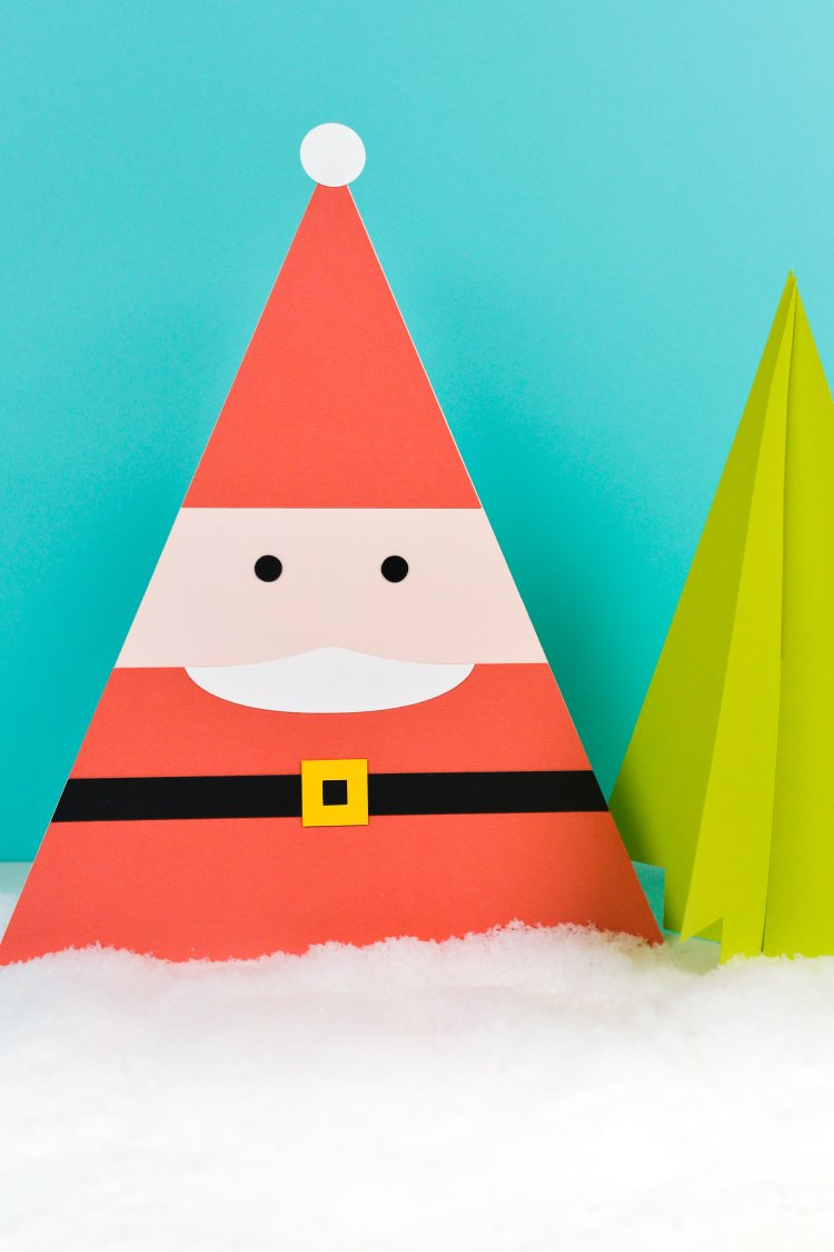 This happy little paper Santa craft will liven up your holiday decor! Easily transform the the gnome pattern from my craft book Paper Party into this adorable Santa.