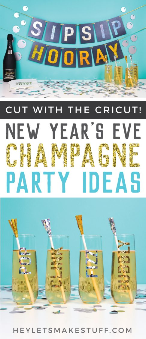 "Break out your Cricut and a glass of champagne to ring in the New Year! Here are five fun champagne-themed New Year's Eve party ideas, all made using your Cricut Explore or Maker! Includes a ""sip sip hooray"" banner, champagne flute decals, cocktail napkins, tassel stir sticks, and quirky bubble decor!"
