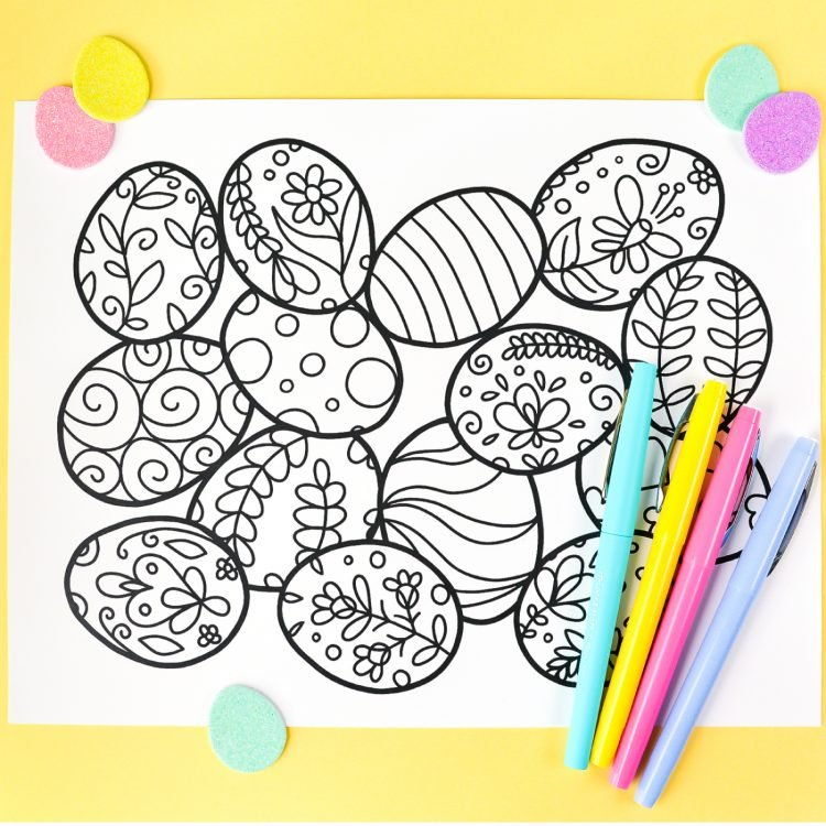 This free printable Easter coloring page is all about Easter eggs! Decorated eggs cover this adorable coloring page—perfect for your entire box of crayons. Print it out for free!