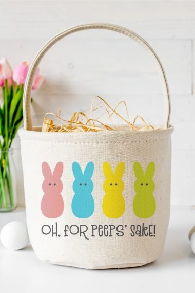 "Can't wait to get your hands on some marshmallow Peeps for Easter? This ""Oh, For Peeps' Sake!"" SVG is perfect for funny Easter shirts, baskets, pillows, and more! Get this FREE cut file, plus 15 other free Easter-themed SVG files."