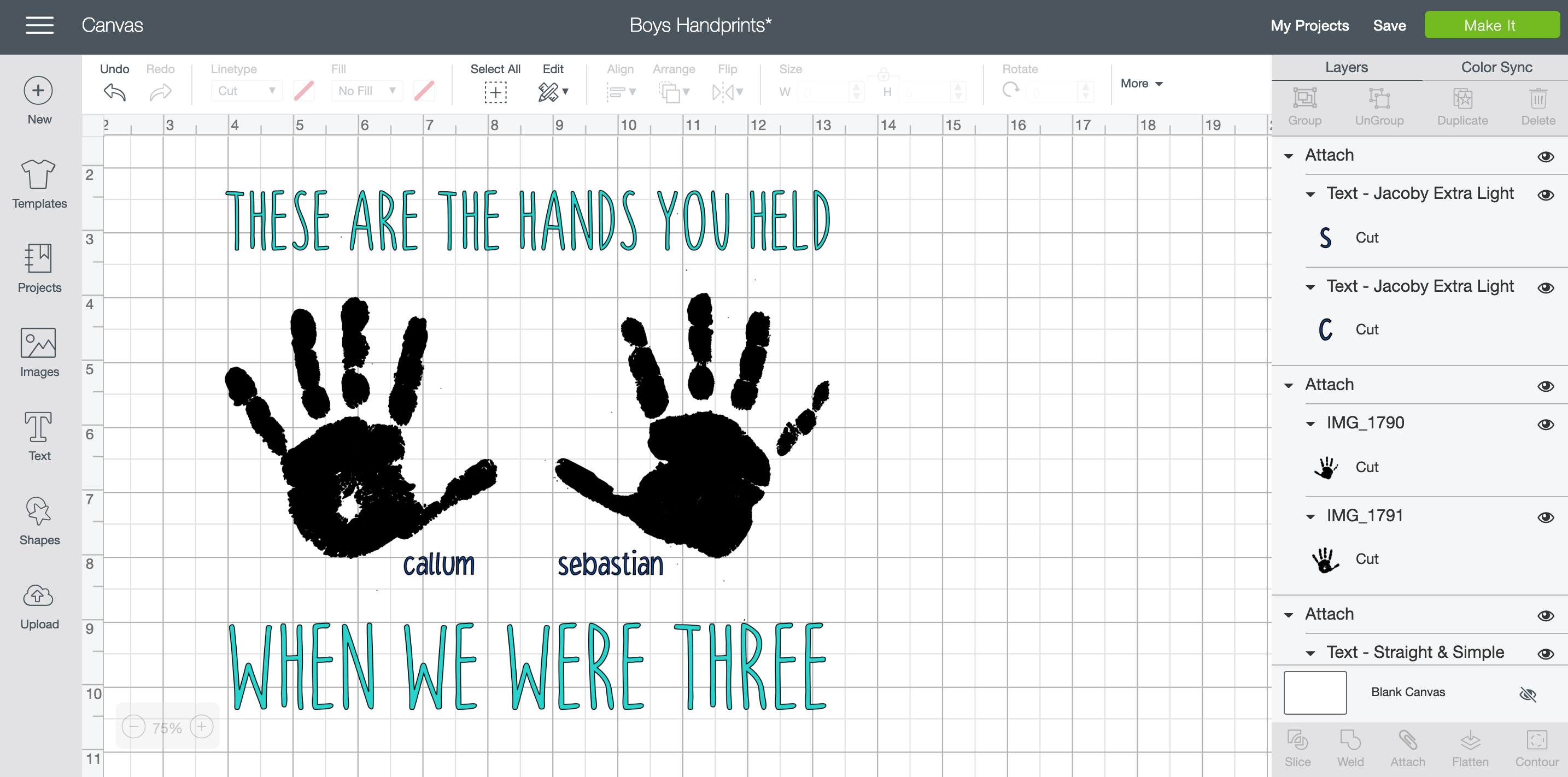 Design Space - Adding text to handprint craft