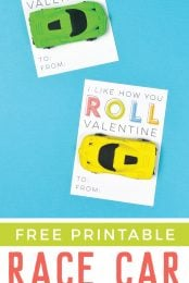 These fun printable Race Car Valentines are the perfect Valentine for boys and girls! Just print, add a cute novelty race car eraser, and you're ready to go—you can make them in less than 10 minutes!