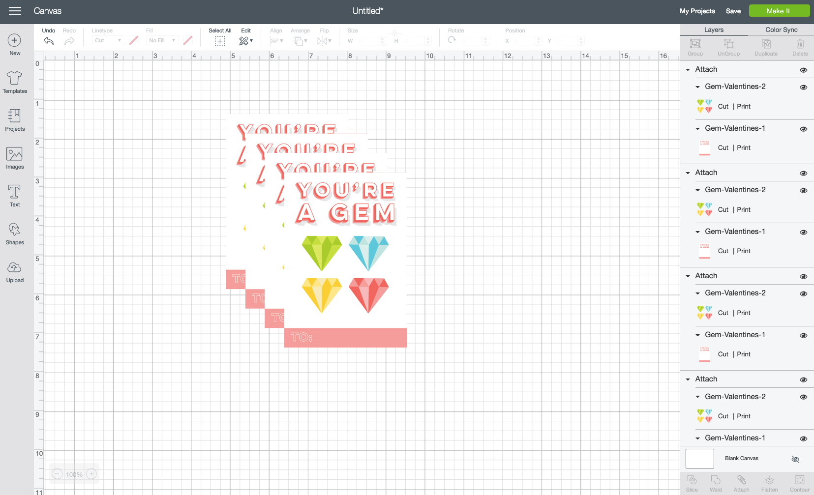 "Click ""Duplicate"" at the top of the Layers Panel on the right to create four total valentines."
