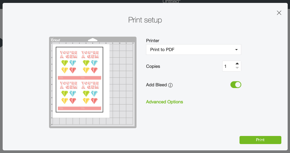 In the Make screen, you'll be prompted to print your valentines.