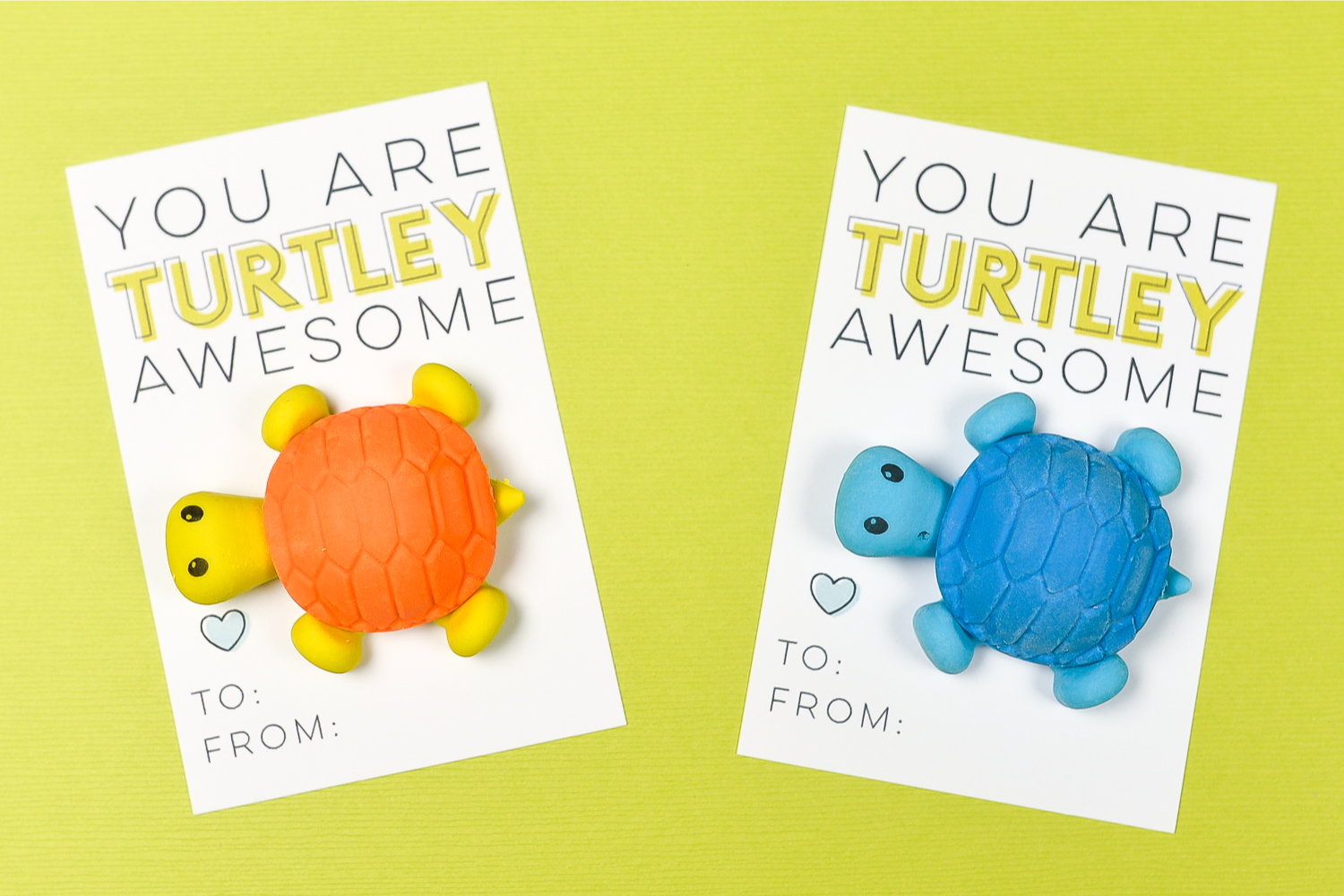 These adorable printable Turtle Valentines Day Cards are the perfect Valentine party favor or treat! Just print, add a cute novelty turtle eraser, and you're ready to go—you can make them in less than 10 minutes!
