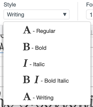 "Use the dropdown to select ""Writing"" style fonts."