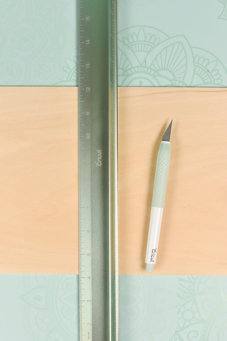 To trim down basswood, I use my True Control Knife and cutting ruler on the self-healing mat.