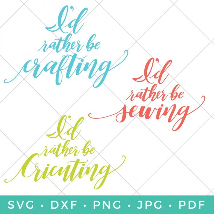 """If busting out those craft supplies and creating is your escape, then this """"I'd Rather Be Crafting SVG Bundle"""" is for you! Keep calm and craft on!"""