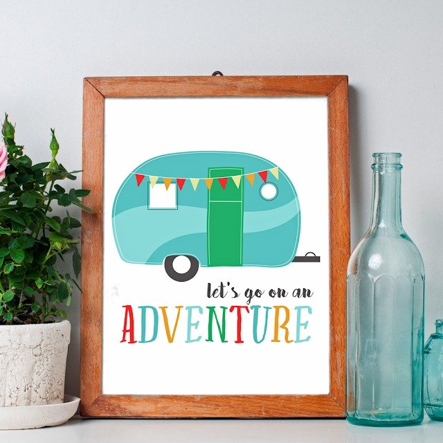 Life is definitely an adventure! Add this happy little camper trailer and adventurous message from ishouldbemoppingthefloor.com to your nursery wall.