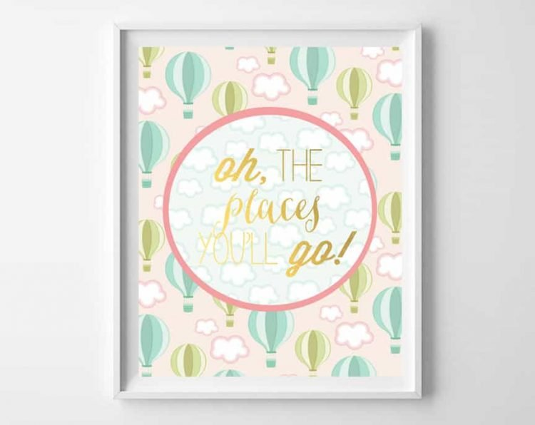 A little Dr. Seuss is always needed. This Oh, the places you'll go printable from burlapandblue.com is whimsical, colorful and will brighten up any nursery wall.