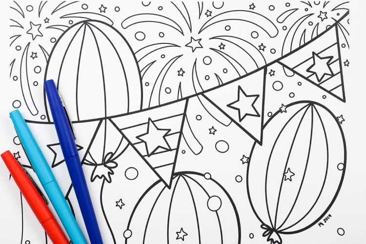 4th Of July Coloring Page - Hey, Let's Make Stuff