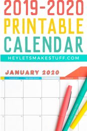Let's get planning! This FREE 2019–2020 printable calendar starts in August 2019 and runs through December 2020. Start the school year off right and stay organized throughout the new year with this free printable calendar.