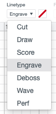 Select Engrave in the drop-down menu in Cricut Design Space