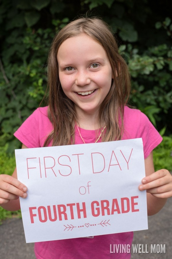 Get the camera ready and make sure you print out these first day signs from livingwellmom.com, you don't want to miss one photo moment on the first day of school.
