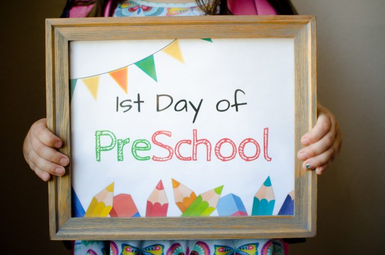 Plan out those first day of school photos and print out your choice of colorful signs from broughttoyoubymom.com. The colorful flags, pencils and words are so cute!