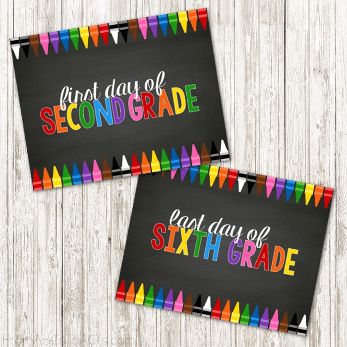 Color crayons are a school staple and these printable first and last day of school signs from fromabcstoacts.com are so fun and colorful.