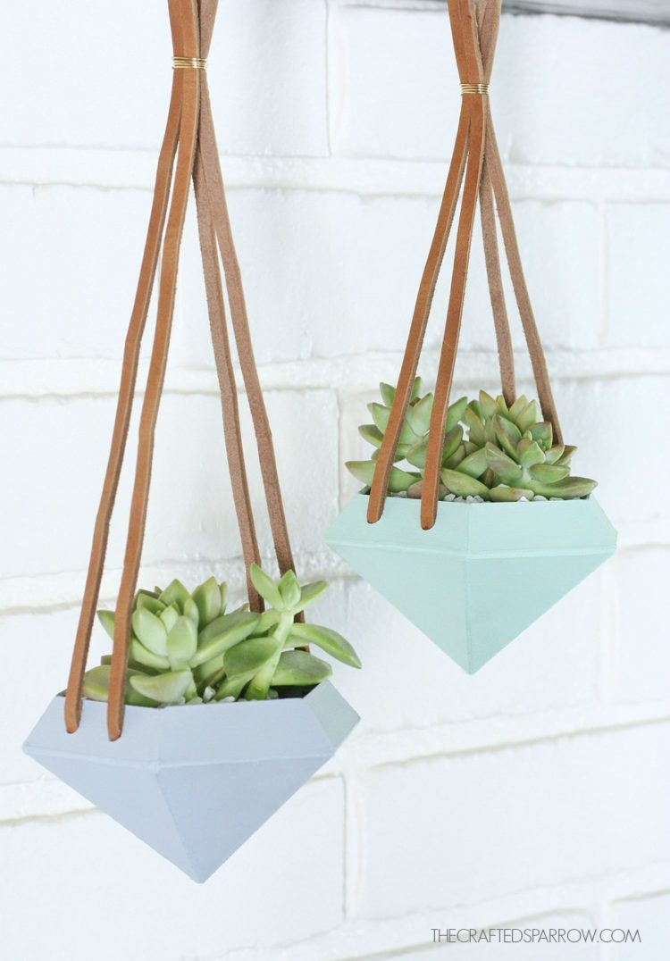 These diamond hanging planters from thecraftedsparrow.com are trendy, modern and the perfect decor for just about any space.