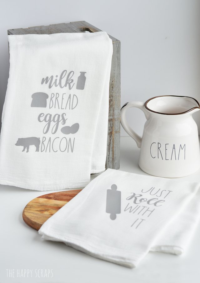 If farmhouse is your style than these DIY farmhouse inspired kitchen towels are right up your alley. Learn how to make them using your Cricut and these instructions from thehappyscraps.com.