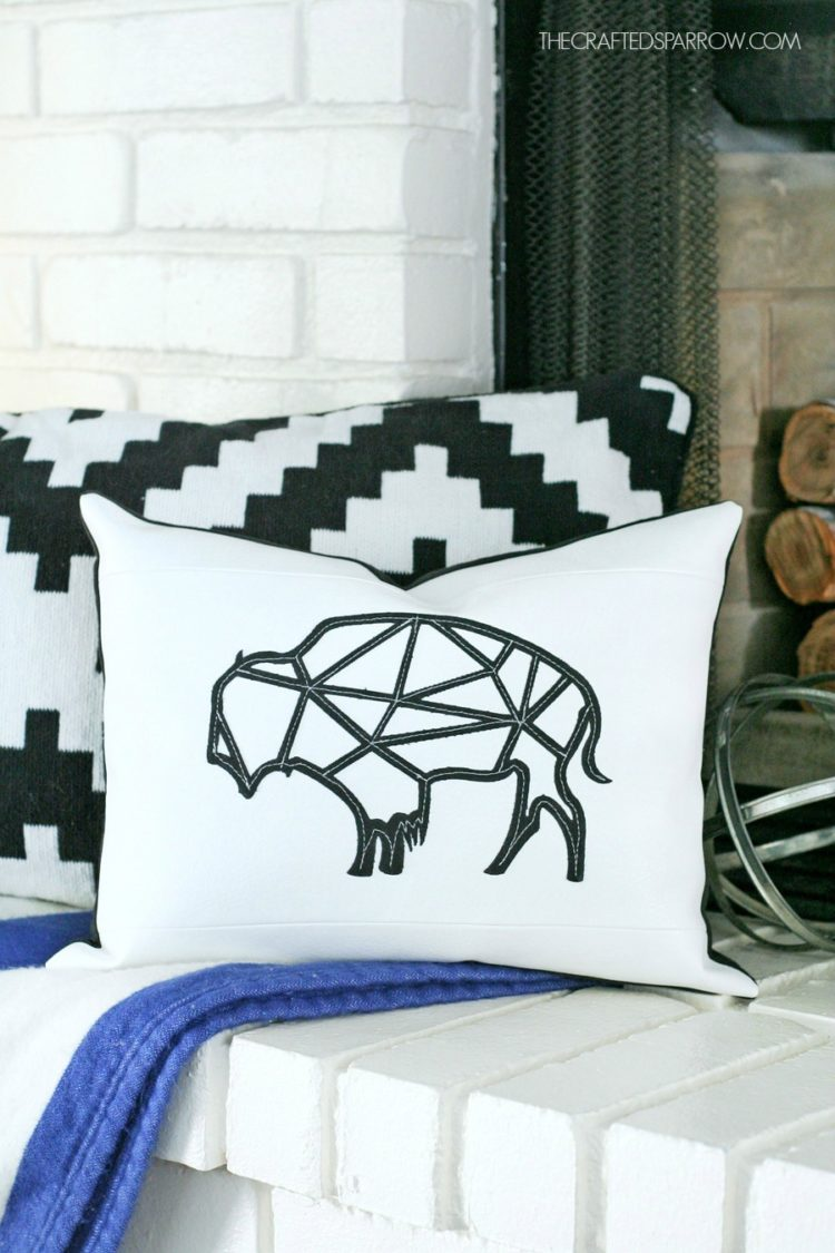 Find the perfect spot for this happy little geometric buffalo pillow from thecraftedsparrow.com.