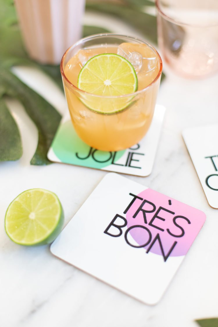 Give your guests something pretty to set their drinks upon with these DIY coasters. Lovelyindeed.com uses her Cricut and infusible ink to make this set and so can you.