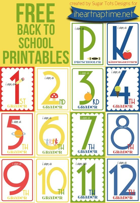 The huge and colorful numbers on these back to school printables from iheartnaptime.net clearly display the grade your little one is starting this fall!