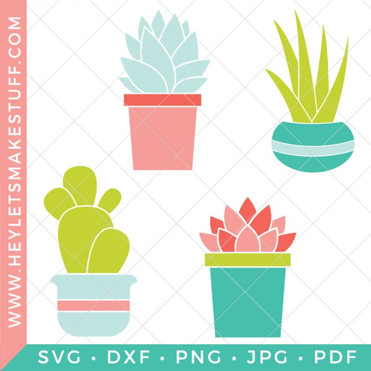 You don't need a green thumb to get creative with succulents. This Succulent SVG Bundle has four colorful designs, perfect for kitchen towels, home decor printables, gardening totes and more!