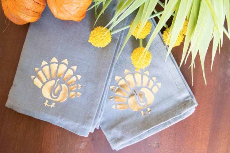 Cricut fall project gold napkins