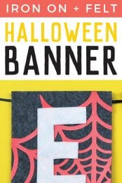 Felt and iron on vinyl come together in one easy halloween banner! Use your Cricut to cut this banner and have it assembled in under 15 minutes. Great for Halloween party decor!