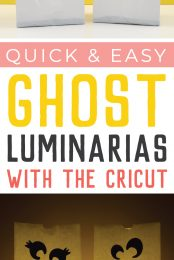 Whether you call them luminarias or luminaries, these ghosts are a quick and easy Halloween decoration! Make these cute ghost luminarias using your Cricut and black iron on!