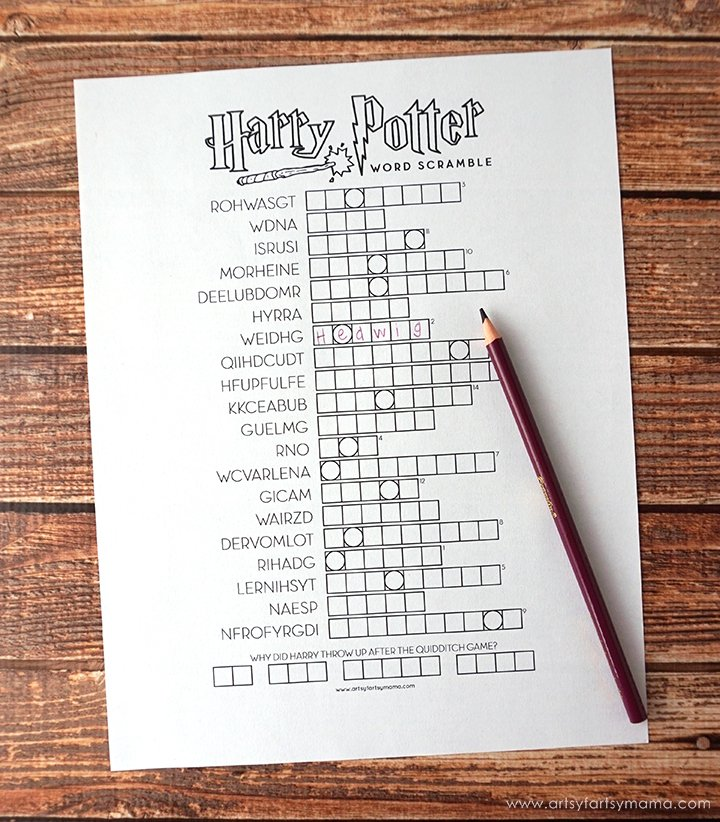 Harry Potter printable word scramble
