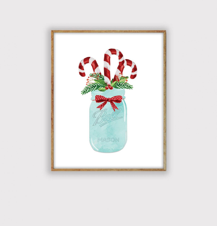 Modern Farmhouse Christmas Art Print, Candy Canes in Mason Jar