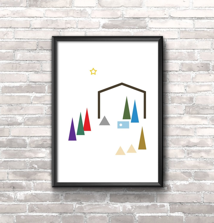 Minimalist Nativity Printable. Instant Digital Download. Wall Art. Modern Christmas. Minimalist poster.
