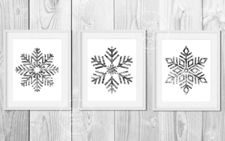 Set of 3 Silver Snowflake Printable Wall Decor - Holiday - Winter - Digital Download - Modern - Simple - Wall Art 8x10 & 5x7