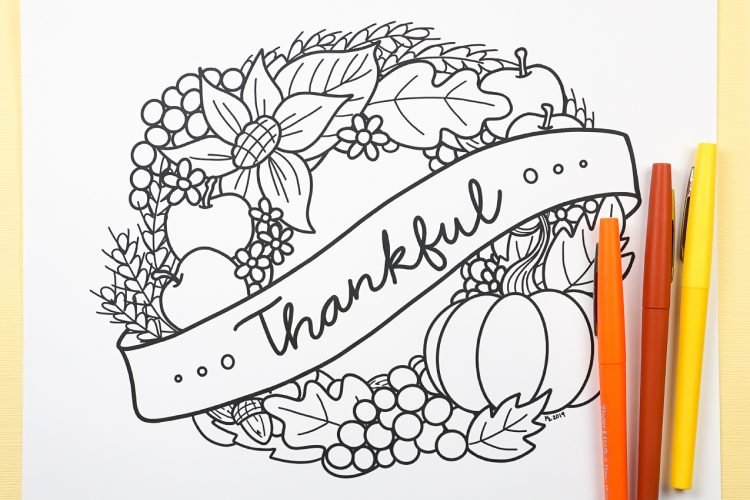 Free Printable Thanksgiving Coloring Page - Hey, Let's Make Stuff
